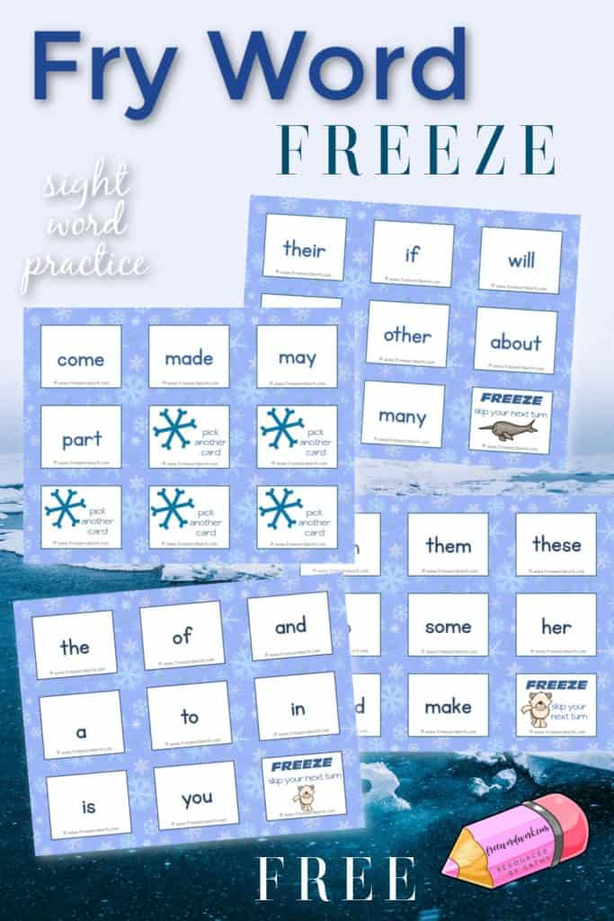 This free Fry Word Freeze Game is designed for Fry word practice with a fun Arctic theme.