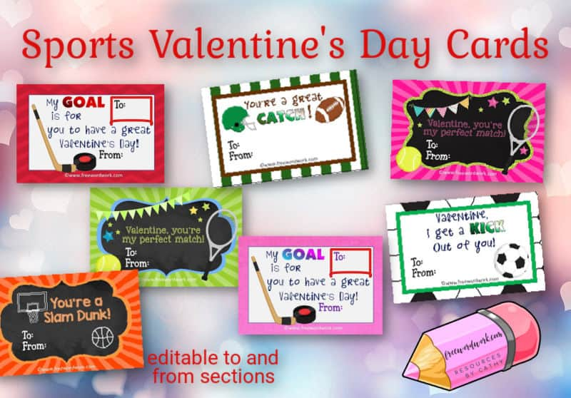Download these free, editable sports Valentine cards for your children to pass out at school or to their friends at home.