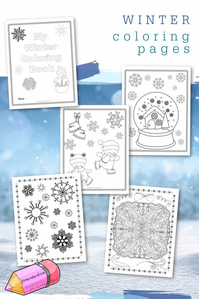 Download this free set of winter coloring pages to use as a relaxing break for your children.