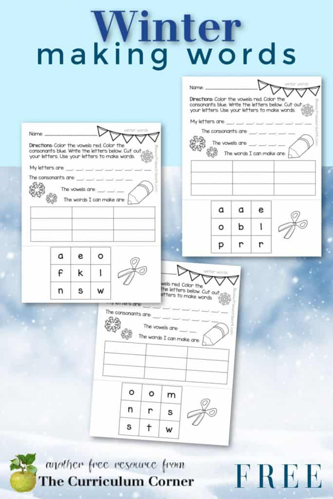 Download these winter making words printables for independent practice during a literacy center.
