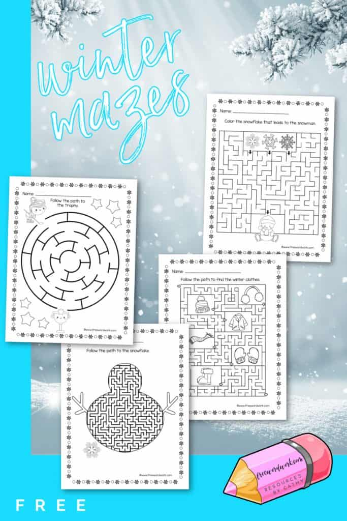 Download and print this collection of free winter mazes to use as a fun activity for your children. Created by www.freewordwork.com.