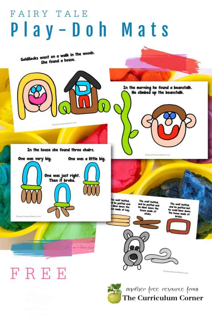 Download this free set of fairy tale Play-Doh mats for your early learning classroom or fun at home.