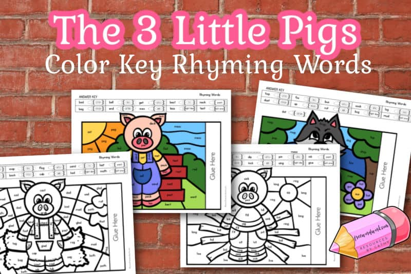 Download this free set of The Three Little Pigs Rhyming Color Key Pages for a fun way for your children to practice word work.