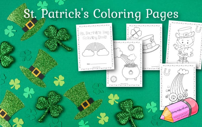 Download this free set of St. Patrick's Day Coloring Pages to put together your own coloring books for March.