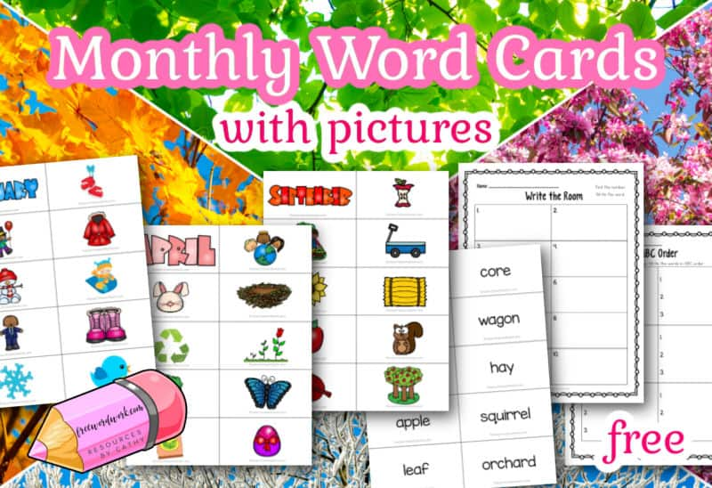 These monthly word cards with pictures can help you assemble a themed word work center each month.