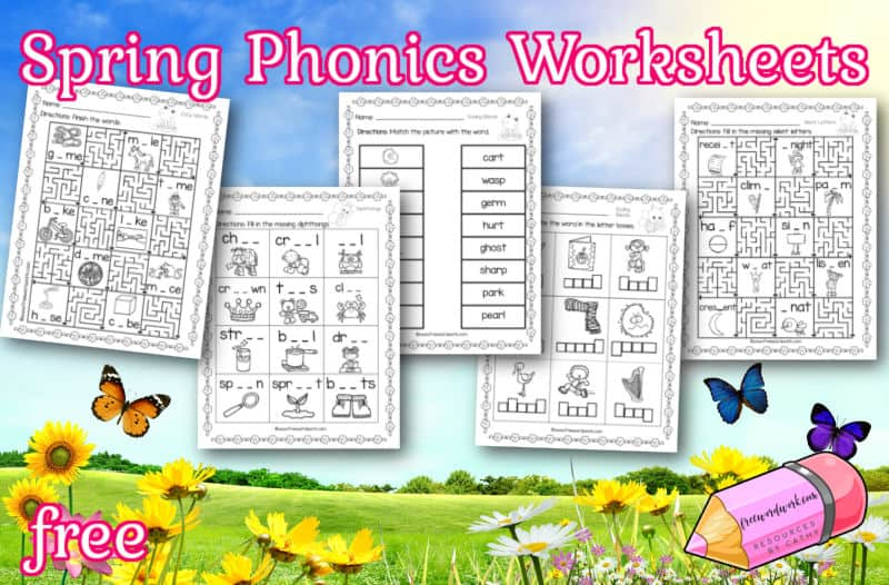 Download these free phonics worksheets to help your children practice a range of phonics skills with spring-themed pages.