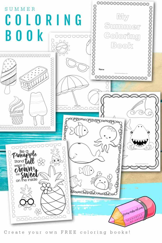 Download this free set of summer coloring pages to help you create your own summer coloring books for your classroom or children at home.